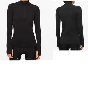 Women's   Lululemon black  seamless 1/2 zip size 4
